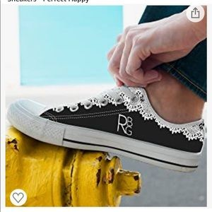 RBG White Collar Low Top Canvas Sneakers